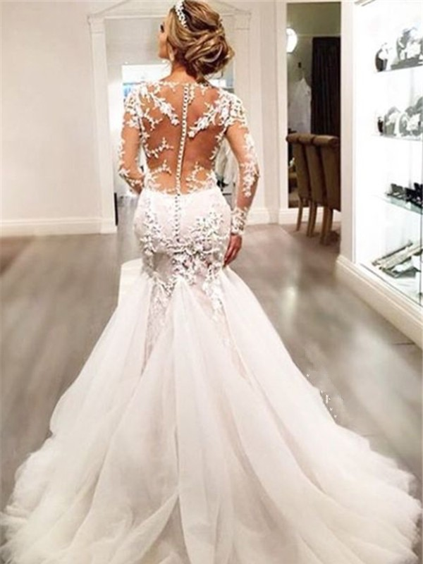 Trumpet/Mermaid Tulle Lace Court Train Long Sleeves Wedding Dresses ...