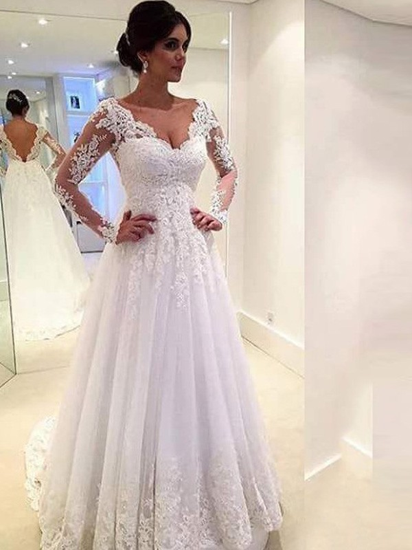 Ball Gown Tulle Lace Long Sleeves Court Train Wedding Dresses ...