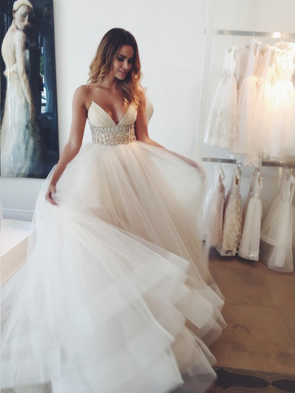 Ball Gown Tulle Crystal Court Train Sleeveless Wedding Dresses ...