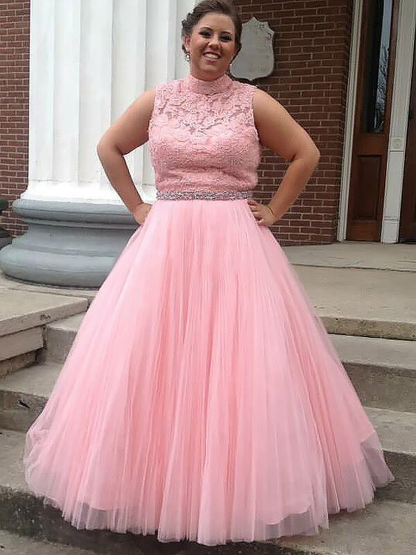 Ball Gown Tulle Applique Sleeveless Floor-Length Plus Size Dresses ...