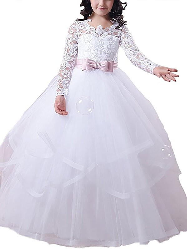 Ball gown tulle jewel long sleeves lace floor length flower girl ball gown tulle jewel long sleeves lace floor length flower girl dresses mightylinksfo