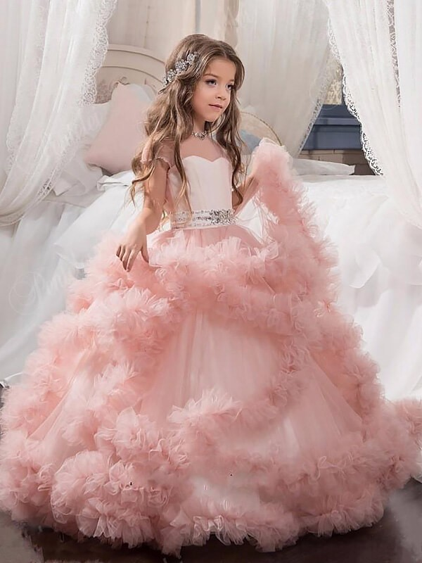 08be0f5b7a1 Ball Gown Tulle Jewel Short Sleeves Crystal Floor-Length Flower Girl Dresses