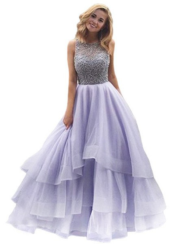 Ball Gown Organza Sleeveless Beading Floor-Length Dresses - DoraProm ...