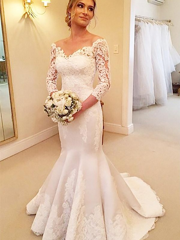 Trumpet/Mermaid 3/4 Sleeves Satin Off-the-Shoulder Lace Court Train ...