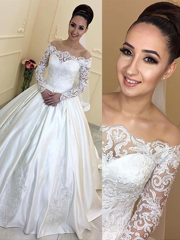 Ball Gown Long Sleeves Off-the-Shoulder Satin Court Train Wedding ...
