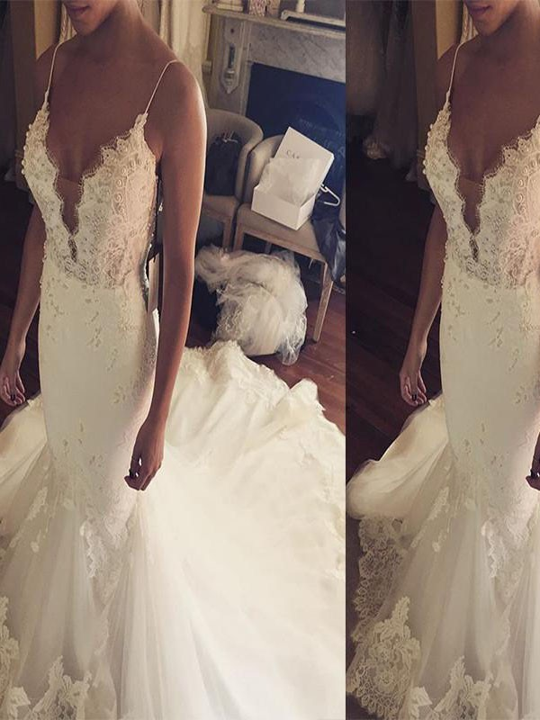 347daf1cfca Trumpet Mermaid Spaghetti Straps Court Train Lace Tulle Sleeveless Wedding  Dresses