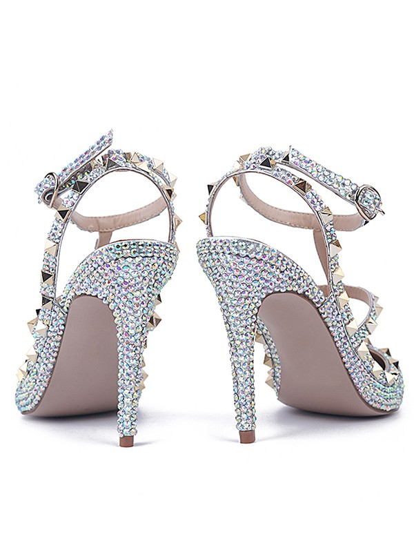 039b1686b7f Women s Stiletto Heel Patent Leather Closed Toe With Rhinestone Sandals  Shoes - DoraProm Online