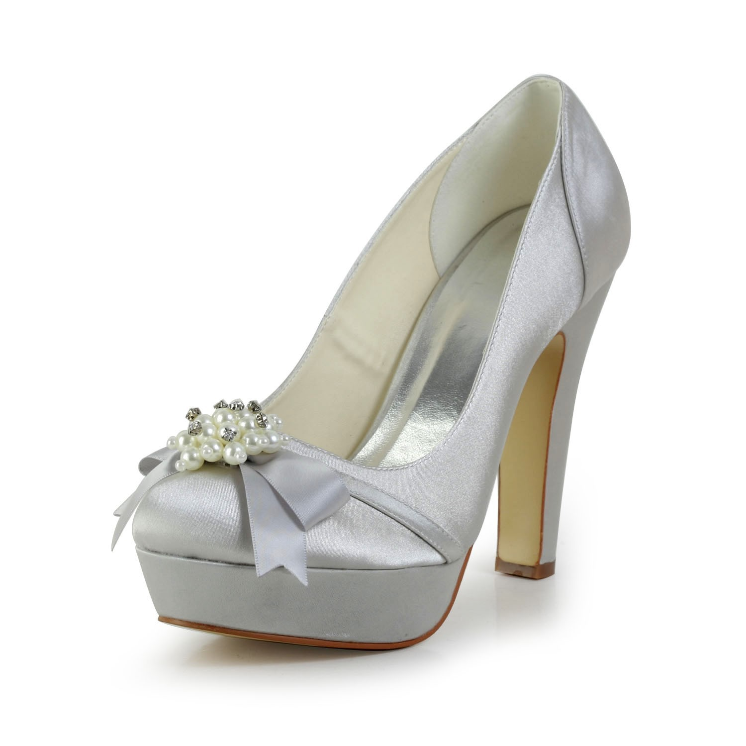 Women S Satin Chunky Heel Closed Toe Platform Silver Wedding Shoes With Bowknot