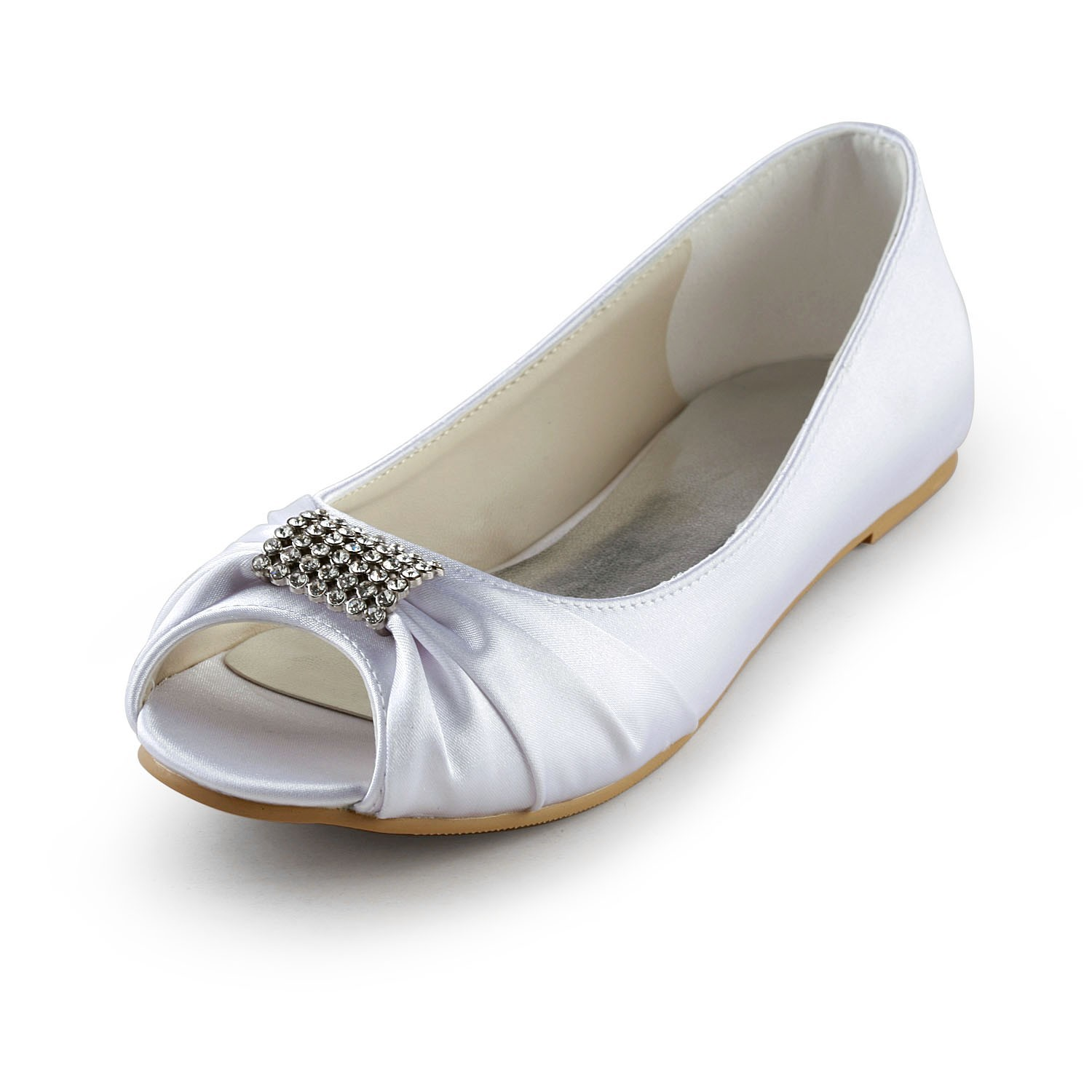 13dbaf136d01 Women s Satin Flat Heel Peep Toe Sandals White Wedding Shoes With Rhinestone