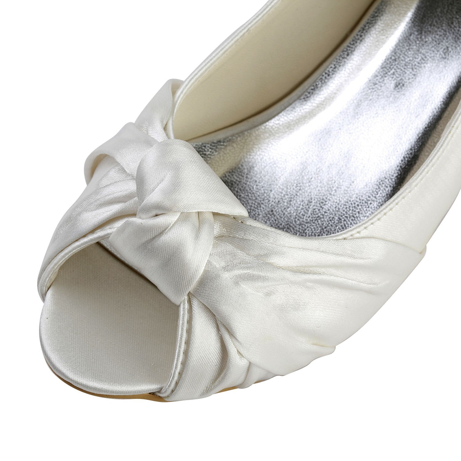 Womenu0027s Satin Kitten Heel Peep Toe Sandals White Wedding Shoes With Bowknot    DoraProm Online