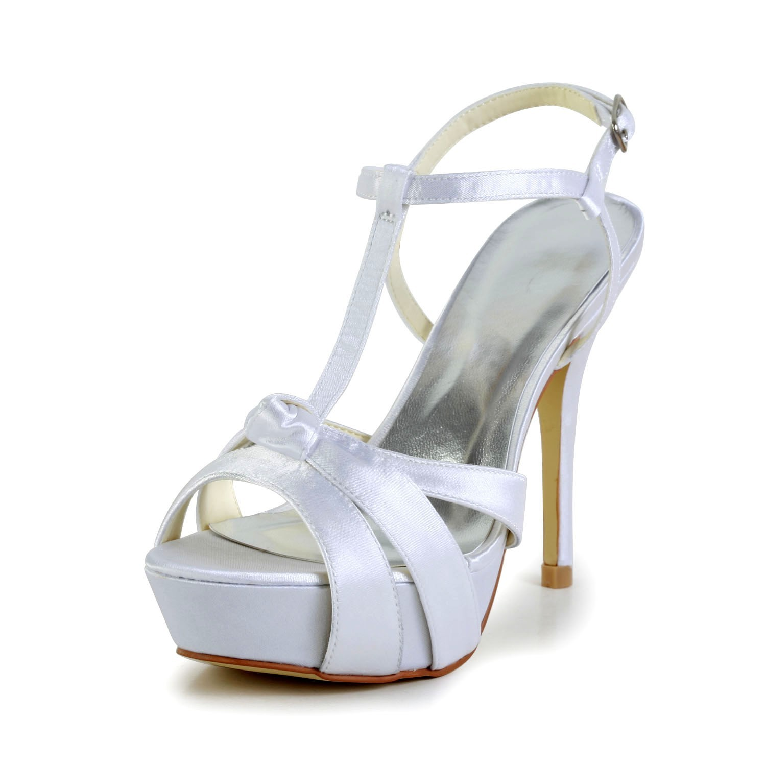 139a8866e03 Women s Satin Stiletto Heel Peep Toe Slingbacks Sandal White Wedding Shoes  With Buckle