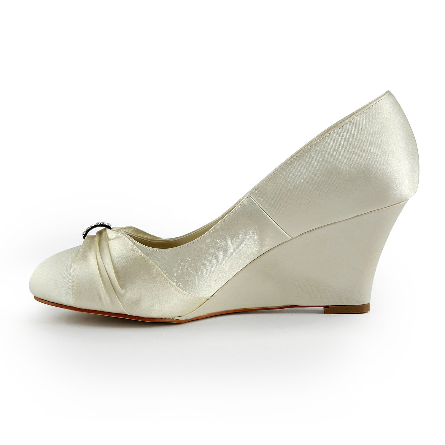 Womenu0027s Satin Wedge Heel Wedges With Rhinestone Ivory Wedding Shoes    DoraProm Online