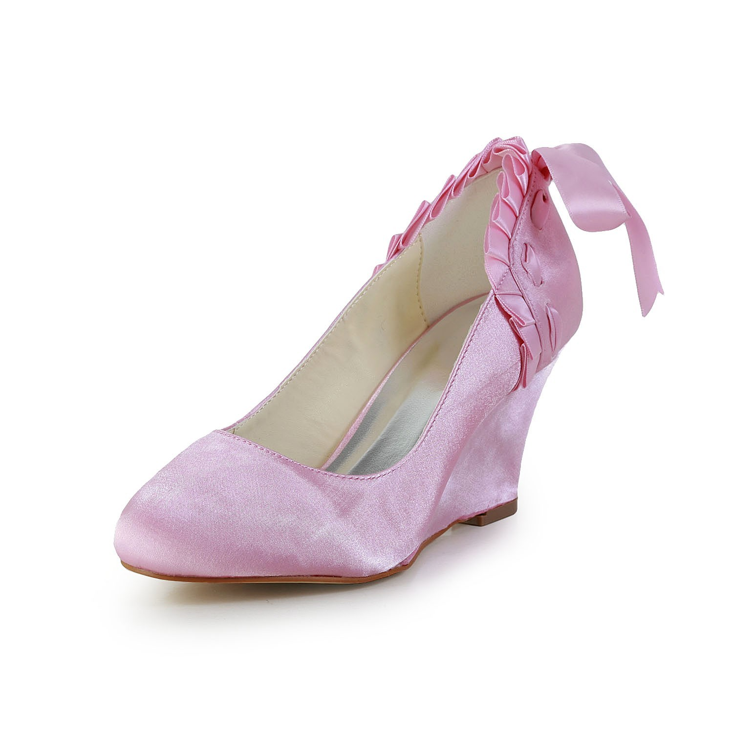 comprare outlet ben noto Women's Unique Satin Wedge Heel Closed Toe Pink Wedding Shoes