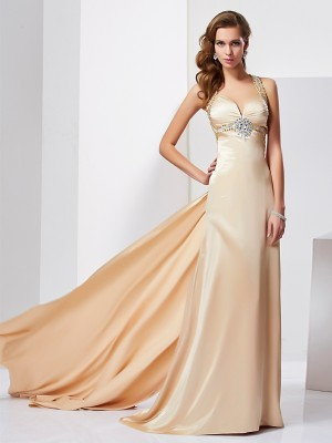 Sheath/Column Silk like Satin Halter Sleeveless Ruffles Sweep/Brush Train Dresses