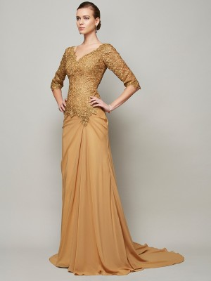 Sheath/Column Chiffon V-neck 1/2 Sleeves Lace Floor-Length Dresses