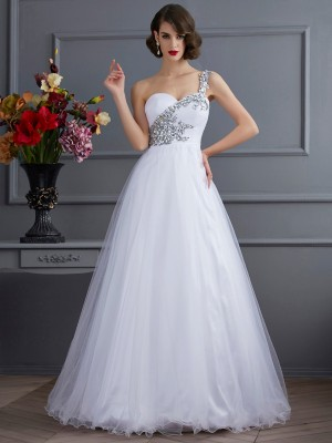 Ball Gown Elastic Woven Satin Beading One-Shoulder Sleeveless Floor-Length Dresses