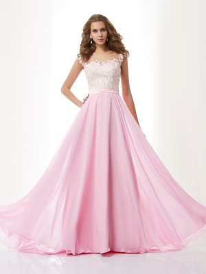 A-Line/Princess Chiffon Beading Straps Sweep/Brush Train Sleeveless Dresses