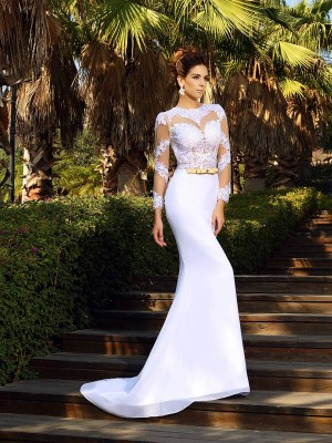 Sheath/Column Satin Applique Long Sleeves Court Train Wedding Dresses