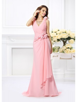 Trumpet/Mermaid V-neck Sleeveless Hand-Made Flower Chiffon Sweep/Brush Train Bridesmaid Dresses
