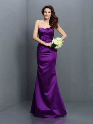 Trumpet/Mermaid Satin Strapless Pleats Floor-Length Sleeveless Bridesmaid Dresses