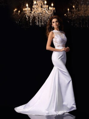 Trumpet/Mermaid Satin High Neck Sleeveless Applique Chapel Train Wedding Dresses
