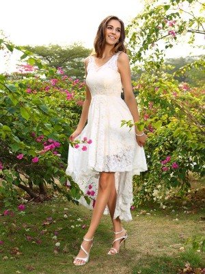 A-Line/Princess V-neck Sleeveless Asymmetrical Lace Bridesmaid Dresses