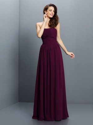 A-Line/Princess Strapless Sleeveless Floor-Length Pleats Chiffon Bridesmaid Dresses