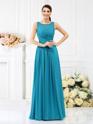A-Line/Princess Chiffon Bateau Pleats Floor-Length Sleeveless Bridesmaid Dresses