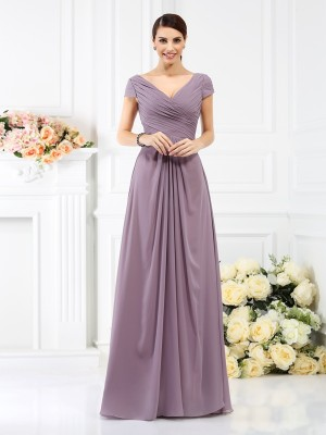 A-Line/Princess Chiffon V-neck Short Sleeves Pleats Floor-Length Bridesmaid Dresses