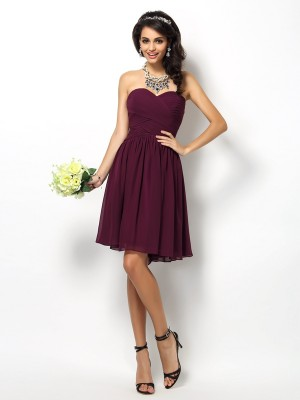 A-Line/Princess Chiffon Pleats Sweetheart Short/Mini Sleeveless Bridesmaid Dresses