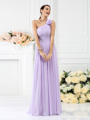 A-Line/Princess One-Shoulder Chiffon Hand-Made Flower Sleeveless Floor-Length Bridesmaid Dresses