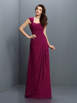 A-Line/Princess Straps Chiffon Pleats Sleeveless Floor-Length Bridesmaid Dresses