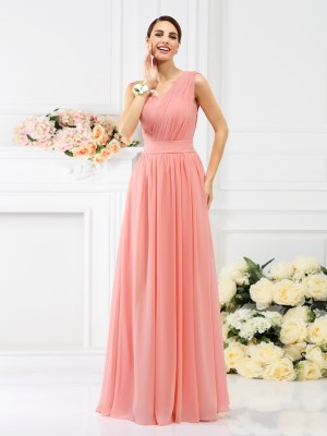 A-Line/Princess Pleats One-Shoulder Sleeveless Chiffon Floor-Length Bridesmaid Dresses