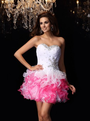 A-Line/Princess Organza Ruffles Sweetheart Short/Mini Sleeveless Dresses