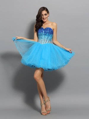 A-Line/Princess Sweetheart Satin Sleeveless Short/Mini Ruffles Dresses