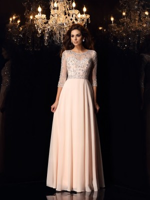 A-Line/Princess Scoop 3/4 Sleeves Beading Chiffon Floor-Length Dresses