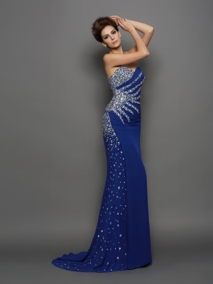 Trumpet/Mermaid Chiffon Rhinestone Sweetheart Sleeveless Court Train Dresses