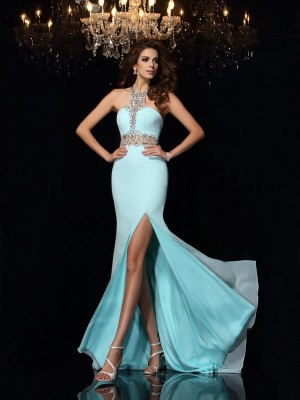 Sheath/Column Chiffon High Neck Sleeveless Beading Sweep/Brush Train Dresses