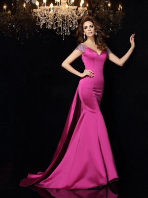 Trumpet/Mermaid Satin Off-the-Shoulder Sleeveless Beading Court Train Dresses
