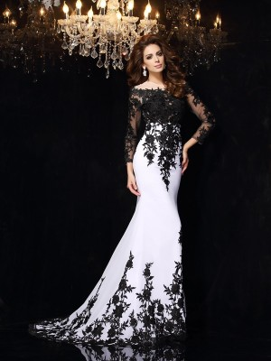 Sheath/Column Scoop Lace Long Sleeves Chiffon Sweep Train Dresses