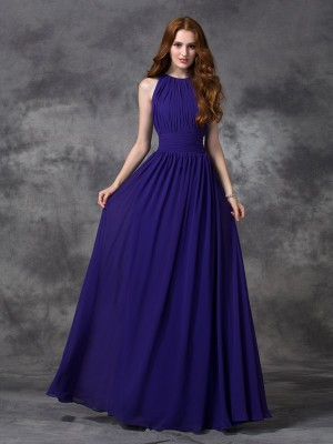 A-Line/Princess Jewel Ruched Sleeveless Chiffon Floor-Length Bridesmaid Dresses