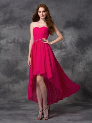 A-Line/Princess Chiffon Beading Sweetheart Sleeveless Asymmetrical Bridesmaid Dresses