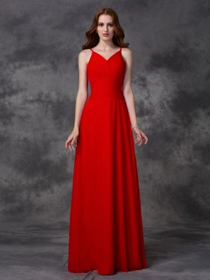 A-Line/Princess Chiffon Ruffles Spaghetti Straps Sleeveless Floor-Length Bridesmaid Dresses