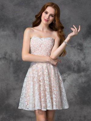 A-Line/Princess Sweetheart Short/Mini Lace Sleeveless Dresses