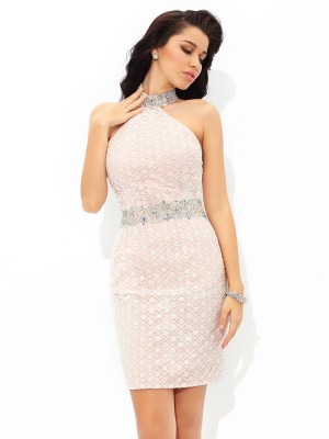 Sheath/Column Satin Beading Halter Sleeveless Short/Mini Dresses
