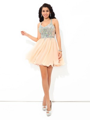 A-Line/Princess Chiffon Rhinestone Straps Sleeveless Short/Mini Dresses