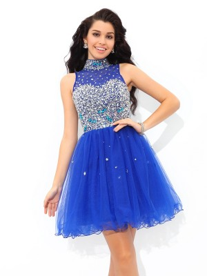 A-Line/Princess Net Beading High Neck Sleeveless Short/Mini Dresses