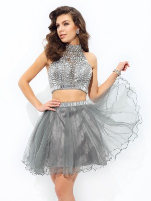 A-Line/Princess Net Ruffles High Neck Sleeveless Short/Mini Dresses