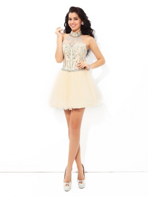 A-Line/Princess Halter Satin Sleeveless Beading Short/Mini Dresses