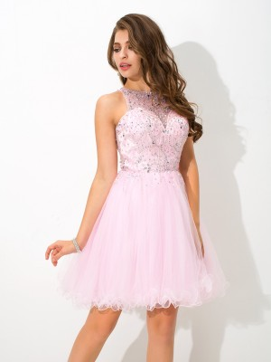 A-Line/Princess Sheer Neck Net Beading Short/Mini Sleeveless Dresses